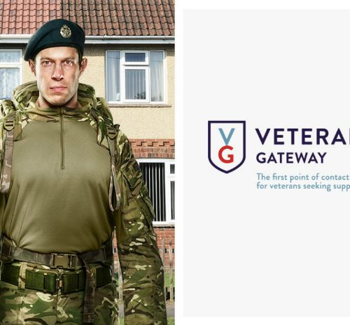 Image of army officer outside a house and Veteran's Gateway logo