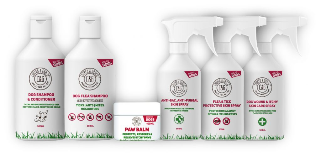 Cooper and Gracie Dog Flea Shampoo, Paw Balm and Anti-Bac Skin Spray